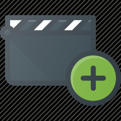 add, clapper, clip, cut, movie icon
