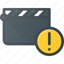 attention, clapper, clip, cut, movie icon