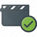 check, clapper, clip, cut, movie icon