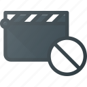 clapper, clip, cut, disable, movie icon