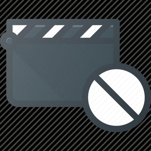 clapper, clip, cut, disable, movie icon