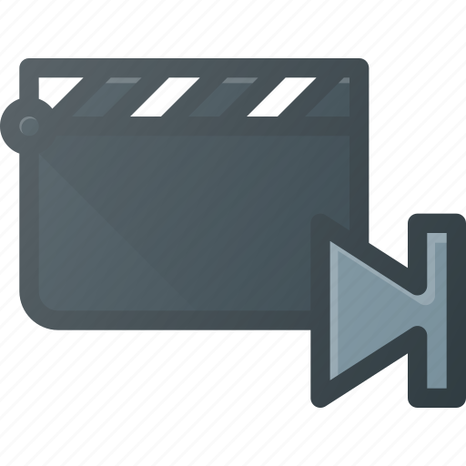 clapper, clip, cut, end, movie, navigate icon