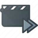 clapper, clip, cut, forward, movie icon
