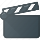 clapper, clip, cut, movie, open icon