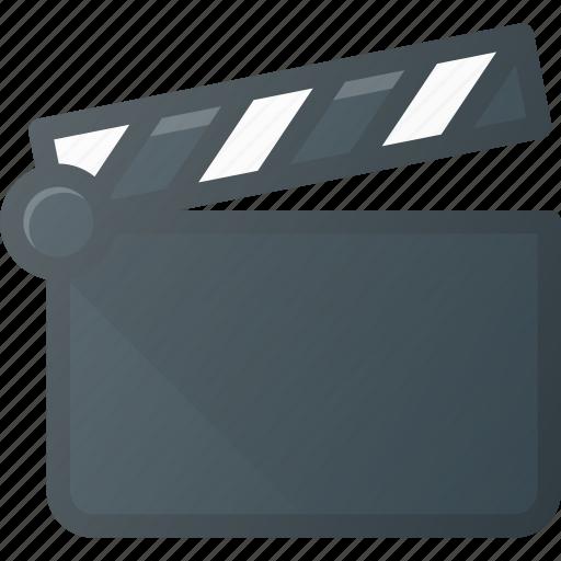 clapper, clip, cut, movie, open icon