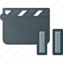 clapper, clip, cut, movie, pause icon