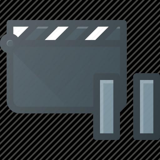 clapper, clip, cut, movie, pause icon
