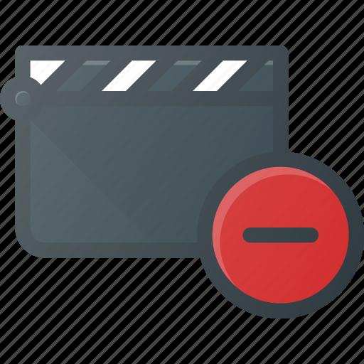 clapper, clip, cut, movie, remove icon