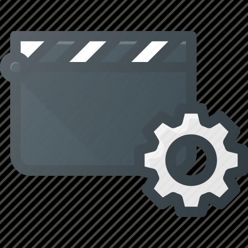 clapper, clip, cut, movie, settings icon