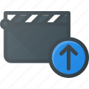 clapper, clip, cut, movie, upload icon