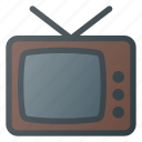old, retro, television, tv, vintage icon