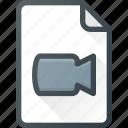 file, camera, video, document, film icon