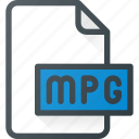 mpg, mpeg, video, file, document, film icon