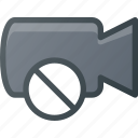 cam, camera, disable, film, movie, no, record icon