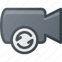cam, camera, film, movie, record, refresh icon