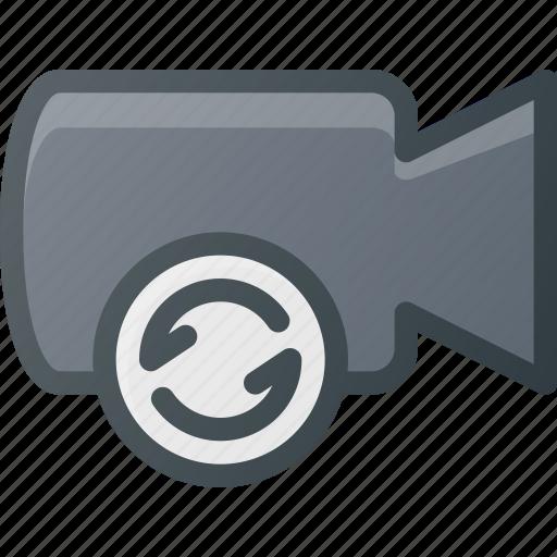 cam, camera, film, movie, record, refresh icon