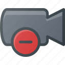 cam, camera, film, movie, record, remove icon