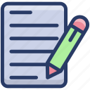 article writing, compose, editing, paper pen, writing paper icon
