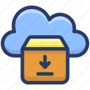 cloud computing, cloud hosting, cloud parcel, cloud storage, cloud technology icon