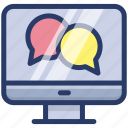 chatting, communication, conversation, forum discussion, online chat, talking icon