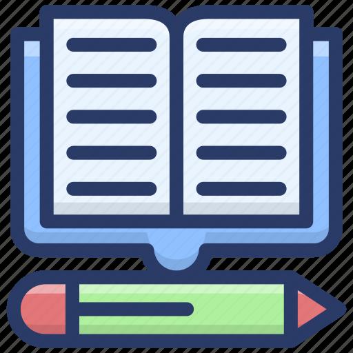 copywriting, education concept, lecture book, stationary, workbook, writing book, writing tools icon