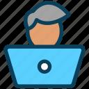video, content, laptop, user, blogger, male