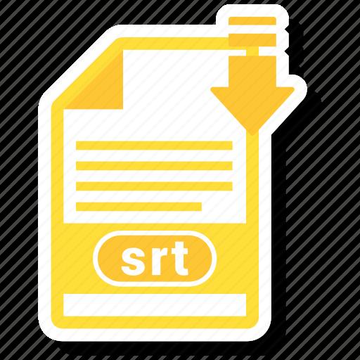 document, extension, folder, paper, srt icon