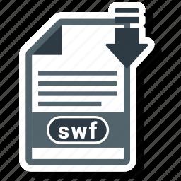 document, extension, folder, paper, swf icon