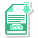 document, extension, folder, paper, vob icon