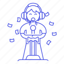 1, competition, confetti, egames, esports, game, gaming, male, player, sword, video, winner icon