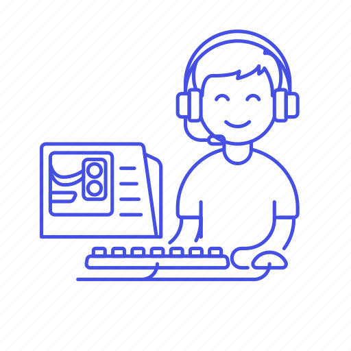 1, cpu, game, gamer, gaming, half, headset, keyboard, male, mouse, pc, playing, setup, video icon