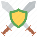 cleaver, combat knife, cutlass, knife, sword with shield icon