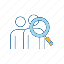 audience, headhunting, human resources, magnifier, magnifying glass, people, research icon