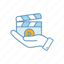 cinematography, clapperboard, film, movie, production, release, video icon