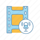 audio recording, broadcasting, filmstrip, microphone, music, record, sound icon