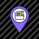 cinema, film, location, movie, navigation, pin, theater