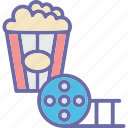 cinema menu, cinema snacks, popcorns, snack time icon