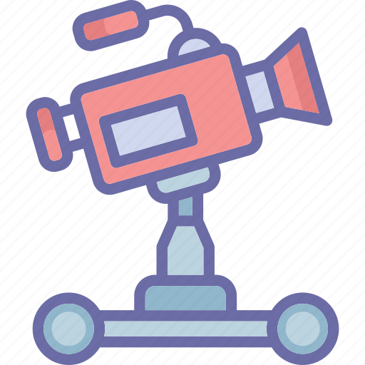 camera dolly, dolly shot, film production, filming icon