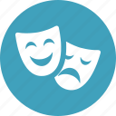 comedy, drama, entertainment, happy, masks, performance, theater icon