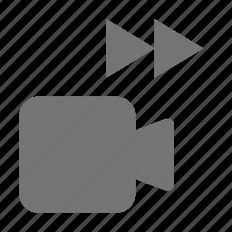 camera, fast forward, forward, media, movie, video icon