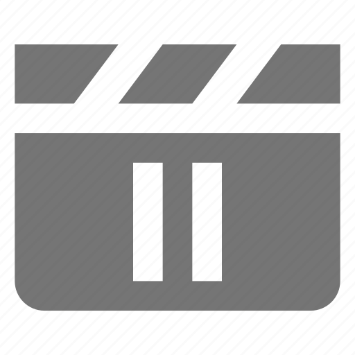 clapboard, media, movie, pause, video icon