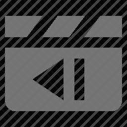 clapboard, media, movie, previous, video icon