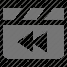 clapboard, media, movie, rewind, video icon