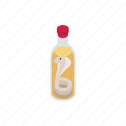 bottle, drink, glass, isometric, poison, poisonous, snake icon