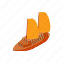 boat, isometric, sailboat, sea, ship, travel, vietnam icon
