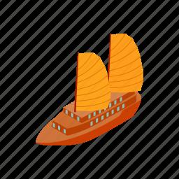 boat, isometric, sailboat, sea, ship, travel, vietnam icon