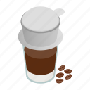 coffee, cup, drink, isometric, paper, vietnam, vietnamese icon