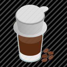 coffee, cup, drink, isometric, paper, vietnam, vietnamese icon