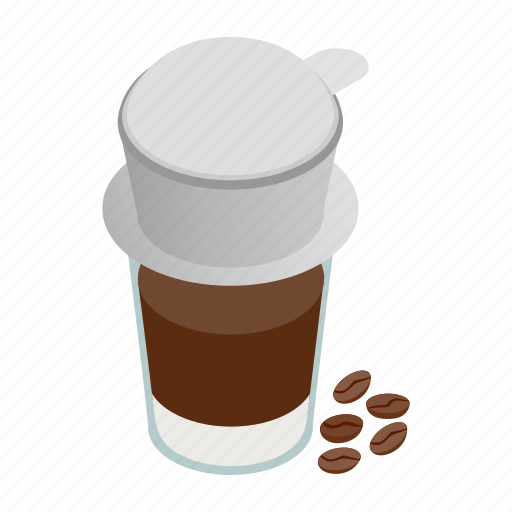 Coffee, cup, drink, isometric, paper, vietnam, vietnamese icon - Download on Iconfinder