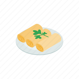 appetizer, asia, food, isometric, snack, vegetable, vietnam icon